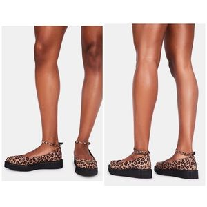 T.U.K. LEOPARD POINTED BALLET CREEPERS